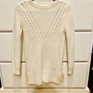 White cable cord sweater